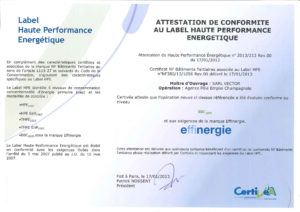 Attestation label HPE BBC 2005 du 17-01-2013